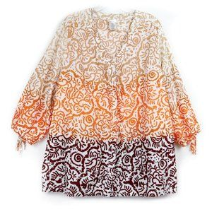 JMS Tan Orange Brown OMBRE Tribal Print Tunic 4X